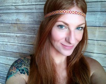 Native Headband, Tribal Headband, Hippie Boho Headband, Thin Headband, Boho Headband, Thin Aztec Headband, Yellow Headband, Red Headband