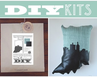 DIY Sewing Kit: Indiana Shaped Pillow with Indianapolis Skyline // Make Your Own Indiana Pillow with this Craft DIY Kit // Indiana Gift