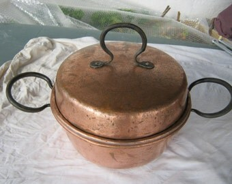 French Copper Pot, Vintage Lidded Copper Pot, Copper Cooking Pot