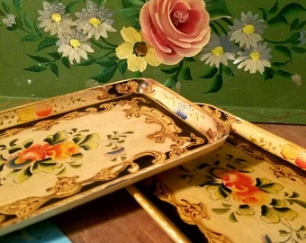 Vintage 1950s trays/platter. Lot of 3 decorative display trays. Home decoration, western decor, kitchen & dinning.