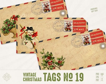 Airmail Tags - Christmas Air Mail Tags, Digital, Vintage, Printable Tags, Hang Tags, Holiday Tags, Retro, Gift, Label, Christmas Tags