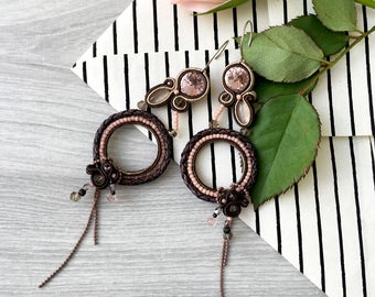 Soutache earrings with smoky quartz and Swarovski. Brown earrings with natural stones. Gems jewelry. Spiritual jewelry. Dangle earrings.