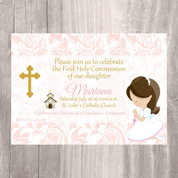 Handy image with regard to printable first communion invites