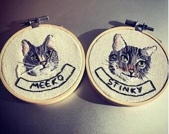 Custom Pet Portait - 2 or More Pets  Embroidery Custom Portrait Animal Lover Pet Lover Pet Memorial Gift Under 50
