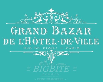 Shabby Chic STENCIL: Vintage French Hotel de Ville Grand Bazar Advert #062