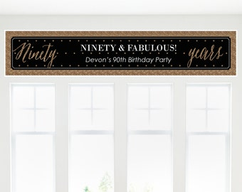 Chic 90th Birthday – Black and Gold Party Banner - Birthday Party Decorations
