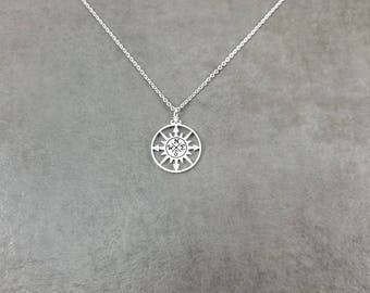 Sun Compass [SILVER] Plated Necklace Dainty Charm Gift Box North South East West Cardinal Direction Points Rose Traveler