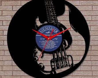 Vinyl wall clock - Guitar Rock Star fans, musician gifts, gifts for musicians