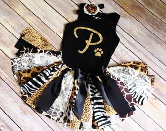 Safari Mixed Animal Print Jungle Fabric Tutu, Top and Headband Set // Safari Birthday Party // Age or Initial // Baby, Toddler, or Girl