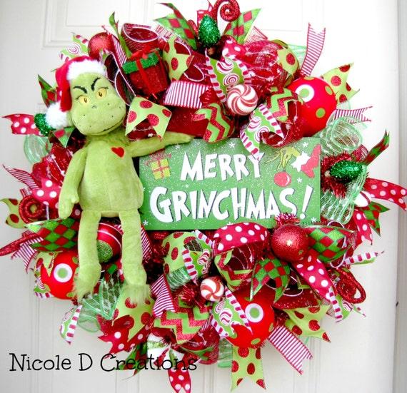 The Grinch Christmas Wreath Holiday Wreath Deco Mesh Wreath
