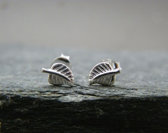 Silver leaf studs ~ Sterling silver stud earrings ~ Leaf earrings ~ Tiny studs ~ Minimalist earrings ~ Silver stud ~ Stocking filler for her