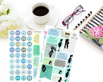 Blue Pregnancy planner stickers for ECLP, IWP, Plum Paper Planner, KIKKIK, Lime Life, Filofax, Happy Planner etc. with Washi