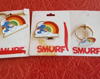 Vintage 1980 Smurf on Cloud & Rainbow Jewelry Set