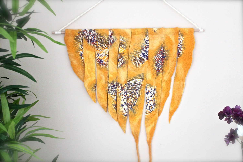 Orange Wall Tapestry / Nuno Felted Wall Hanging / Boho Decor / Fiber ...