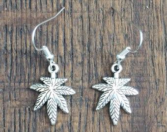 Pot Leaf Earrings or Necklace & Earring Set