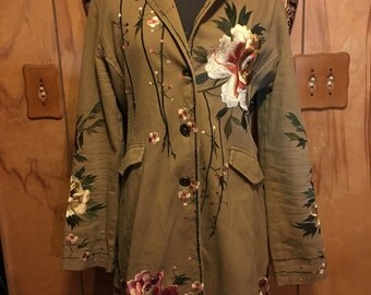 Embroidered floral Paparazzi by BIZ Large Coat / jacket