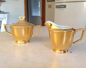 Gold Plated Creamer & Sugar
