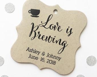 Love Is Brewing Kraft Favor Tags, Tea or Coffee Cup Wedding Favor Tags, Wedding Hang Tags  (FS-095-KR)