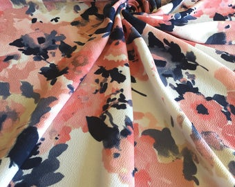 CORAL & NAVY Floral Liverpool Knit Stretch Fabric 4 way stretch BTY By The Yard