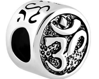 Silver Ohm Om Yoga jewelry charm for Pandora bracelet