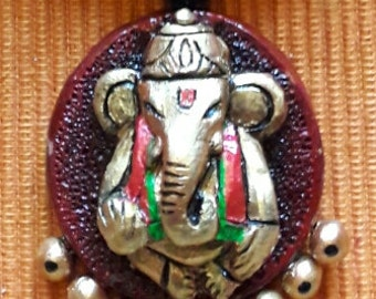 Terracotta necklace with Ganesha pendant and matching jhumkas