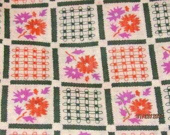 Vintage Feedsack Fabric 1930's 1940's 1950's Novelty Purple Orange Geometric Floral Quilt Patchwork Craft