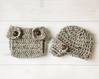 Ready Ship ! Newborn / 0-3M Baby Boy Photo Prop Handmade Crochet Diaper Cover, Crochet Diaper  Cover Hat Set * Grey Marble *