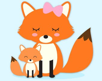 Fox clip art, Mama and Baby Fox clipart, Forest Animals clip art, Commercial Use Clip Art, 1 PNG Image, Instant Download