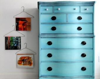 SOLD!!-Robin egg blue hand painted dresser