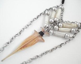 Unisex Spiritual Unique Authentic Fish Bone Amulet Necklace Tribal Long Boho Necklace Fish Bone Jewelery