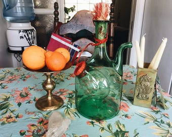 vintage wine decanter with ice chamber/wine/bar cart/blown glass wine decanter/wine bottle/green wine decanter/wine bar/wine decanter