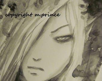 Pretty Fairy Boy  Painting Fantasy Art Original Watercolor Shounen Illustration Fairie Fae