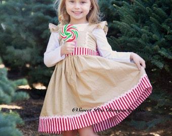 Girls Gingerbread dress, girls Christmas dress, Holiday dress, twirl dress,baby gingerbread dress, red stripe dress, toddler dress,