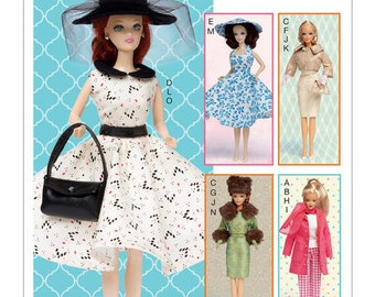 "McCall's Pattern M7550 Retro-Style Clothes and Accessories for 11.5"" Doll"