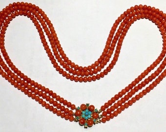 Persian turquoise Red coral necklace vintage 60g RED natural no dye coral multi strand possibly persian turquoise 9k gold necklace