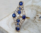 Antique Edwardian Sapphire Diamond Pearl Navette Statement Ring in 18k Gold   Antique Sapphire Engagement Ring