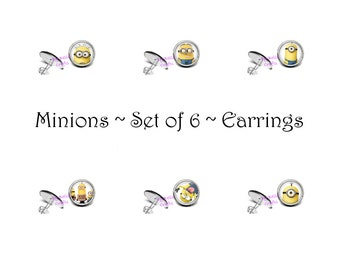 Set of 6, Minion, Post, Earrings, 12mm, Epoxy Cabochons, Comic Book, Geeky, Nerdy, Gift Set