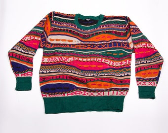 Vintage Coogi Style 90s Colorful Knit Jumper