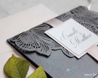 Blush Wedding Invitation, Blush and Grey Wedding, Grey Wedding Invitation, Laser Cut Wedding Invitation, DEPOSIT