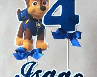 Paw Patrol Cake Topper Personalized/Customized. Toddler Birthday Party. Chase Inspired Cake Topper.