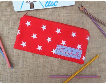 Personalised Pencil Case, Red Stars Case, Personalized Pencil Pouch, Back to School, Stars Pencil Case, Red Pencil Pouch, Gift for Kids