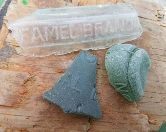 EMBOSSED FROSTED SHARDS ~  Bottle ~ Base ~ Thames ~ Mudlarking ~ Olive Green Clear ~ Famel Brand Syrup ~ Poison Bottle