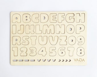 Wooden alphabet stencil for kids / Wooden toy / Natural puzzle toy / Wooden letters