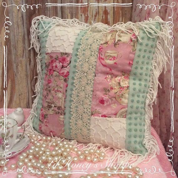 Shabby chic throw pillow tea theme chenille and cotton with