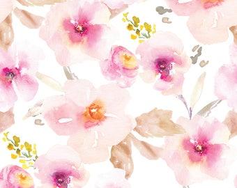 Organic Nursing Pillow Cover Spring Flowers, Blush, Pink Baby Bedding, Boho, Cottage Chic,Baby Girl Nursery,Gold Metal Zipper,Nursing Pillow