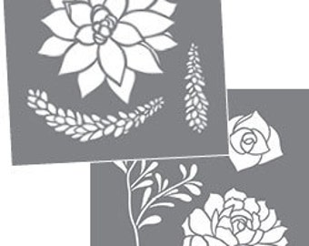 "Americana Decor, Succulents, 8"" x 8"", 2 Stencils Per Package, Reusable Stencils"