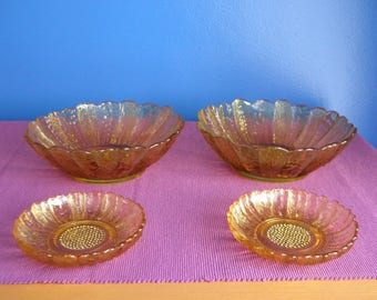 Vintage Indiana Glass Amber Sunflower Bowls with Small Plates - 1960s