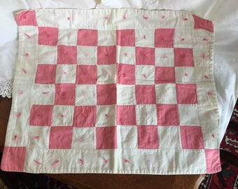 Vintage Checkerboard Pink and White Doll Quilt