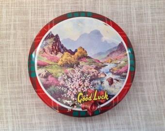 Crawfords Scotch Shortbread Biscuit Tin.  Lucky Heather, Scottish Highland Scene Tartan Circular Tin.