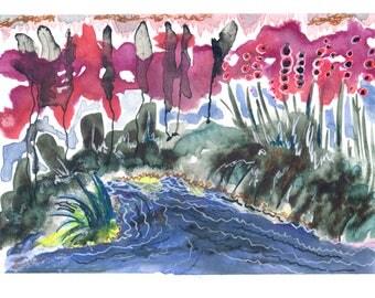 Paysage au ciel rouge, Red Sky Landscape, Original Print, Art Print